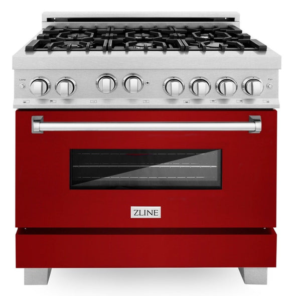 ZLINE 36 in. Professional Gas Range in DuraSnow® Stainless Steel with Red Gloss Door, RGS-RG-36