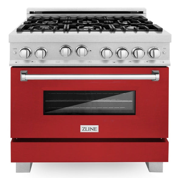 ZLINE 36 in. Professional Gas Range in DuraSnow® Stainless Steel with Red Matte Door, RGS-RM-36