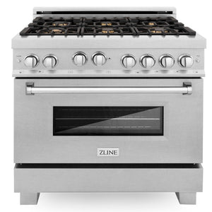 "ZLINE 36"" Professional Gas Burner/Gas Oven in DuraSnow® Stainless with Brass Burners, RGS-SN-BR-36"