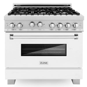 ZLINE 36 in. Professional Gas Range in DuraSnow® Stainless Steel with White Matte Door, RGS-WM-36