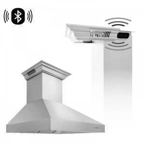 "ZLINE 36"" Stainless Steel Wall Range Hood with Built-in CrownSound® Bluetooth Speakers, 697CRN-BT-36"