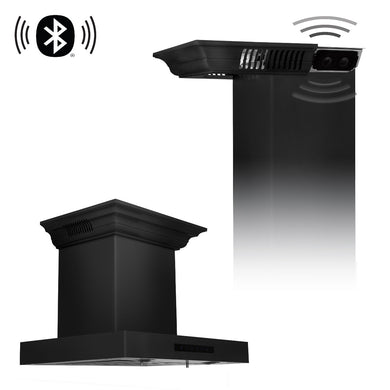 "ZLINE 24"" Wall Mount Range Hood in Black Stainless Steel with CrownSound® Speakers, BSKENCRN-BT-24"