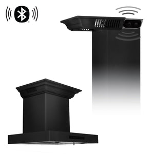 ZLINE 24 in. Wall Mount Range Hood in Black Stainless Steel with CrownSound® Speakers, BSKENCRN-BT-24