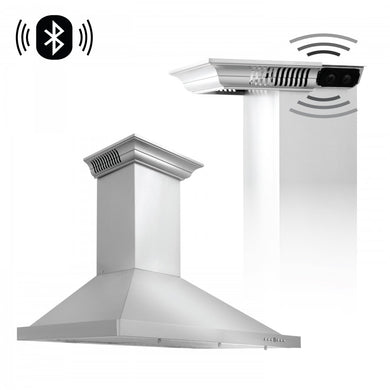 "ZLINE 36"" Stainless Steel Wall Range Hood with Built-in CrownSound® Bluetooth Speakers, KBCRN-BT-36"