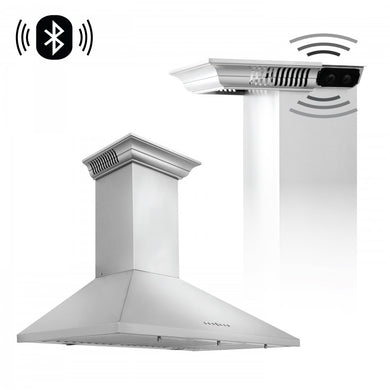 "ZLINE 30"" Stainless Steel Wall Range Hood with Built-in CrownSound® Bluetooth Speakers, KL2CRN-BT-30"