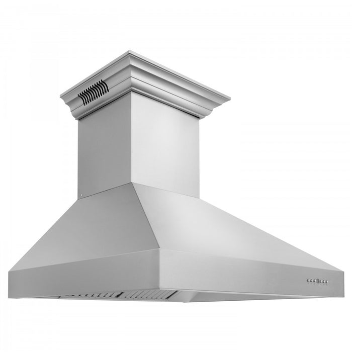 "ZLINE 60"" Stainless Steel Wall Range Hood with Built-in CrownSound® Bluetooth Speakers, 697CRN-BT-60"