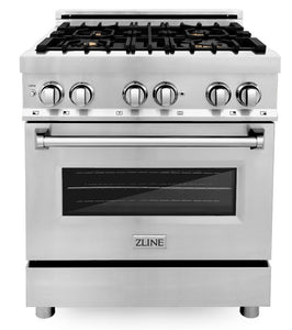 "ZLINE 30"" Professional Gas Burner/Electric Oven Stainless Steel Range with Brass Burners, RA-BR-30"