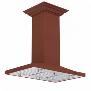 zline-copper-island-mounted-range-hood-8nl2ci-side-under test