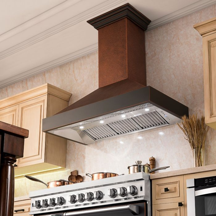 "ZLINE 48"" Hand-Hammered Copper Finish Wall Range Hood, 655-HBXXX-48"