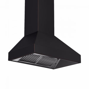zline-copper-wall-mounted-range-hood-8667b-side-under test