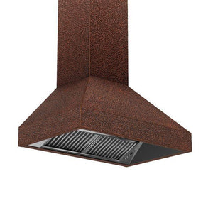 zline-copper-wall-mounted-range-hood-8667e-side-under test