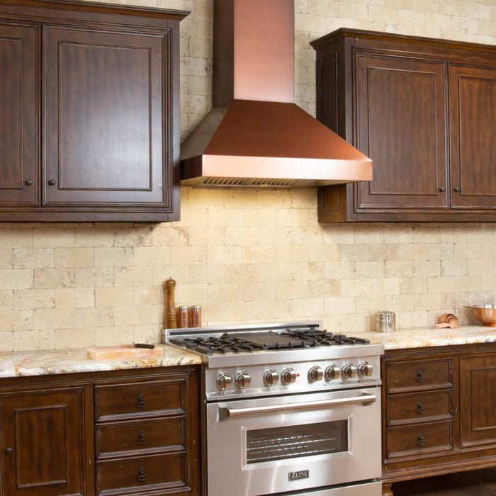 "ZLINE 48"" Copper Wall Range Hood with Crown Molding, 8667C-48"