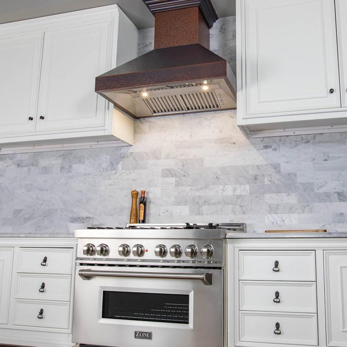 "ZLINE 48"" Copper Wall Range Hood 8667E-48, Crown Molding"
