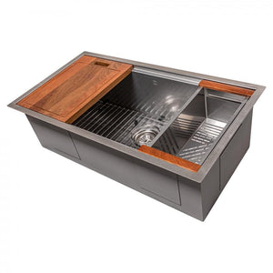 ZLINE Designer Series 33 Inch Undermount Single Bowl Ledge Sink in DuraSnow® Stainless Steel with Accessories, SLS-33S