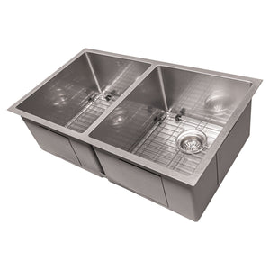 ZLINE Anton 33 Inch Undermount Double Bowl Sink in DuraSnow® Stainless Steel, SR50D-33S