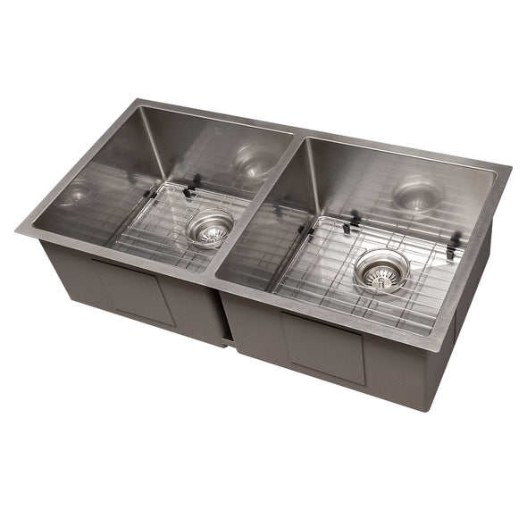 ZLINE Anton 36 Inch Undermount Double Bowl Sink in DuraSnow® Stainless Steel, SR50D-36S