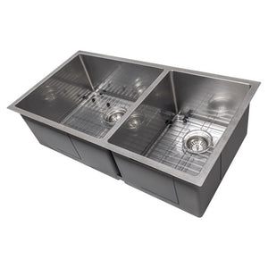 ZLINE Chamonix 36 Inch Undermount Double Bowl Sink in DuraSnow® Stainless Steel, SR60D-36S