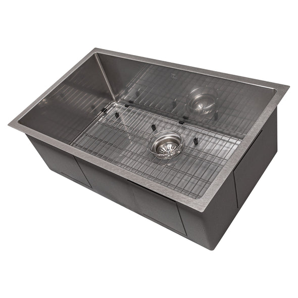 ZLINE Meribel 30 Inch Undermount Single Bowl Sink in DuraSnow® Stainless Steel, SRS-30S