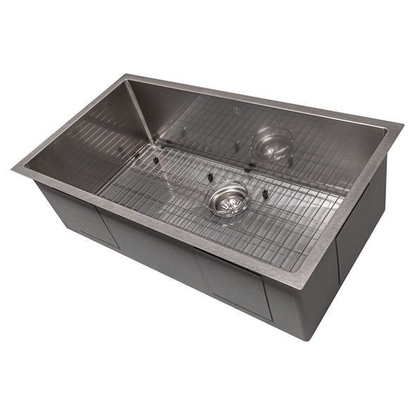 ZLINE Meribel 33 Inch Undermount Single Bowl Sink in DuraSnow® Stainless Steel, SRS-33S