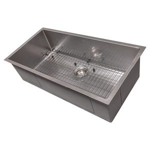 ZLINE Meribel 36 Inch Undermount Single Bowl Sink in DuraSnow® Stainless Steel, SRS-36S
