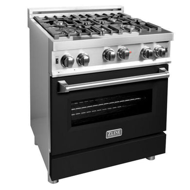 ZLINE 30 in. Professional 4.0 cu. ft. 4 Gas on Gas Range in Black Matte, RG-BLM-30