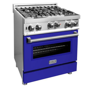 ZLINE 30 in. Professional Gas on Gas Range in Stainless Steel with Blue Matte Door, RG-BM-30