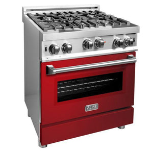 ZLINE 30 in. Professional Gas on Gas Range in Stainless Steel with Red Gloss Door, RG-RG-30