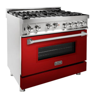 ZLINE 36 in. Professional 6 Gas on Gas Range in Stainless Steel with Red Gloss Door, RG-RG-36