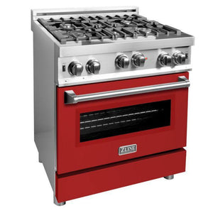 ZLINE 30 in. Professional Gas on Gas Range in Stainless Steel with Red Matte Door , RG-RM-30