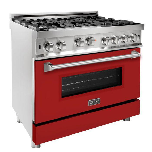 ZLINE 36 in. Professional 6 Gas on Gas Range in Stainless Steel with Red Matte Door, RG-RM-36
