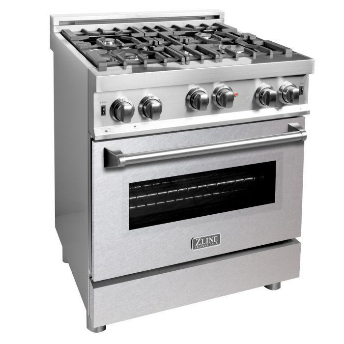 ZLINE 30 in. Professional Gas on Gas Range in Stainless Steel with DuraSnow® Stainless Door, RG-SN-30