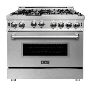 ZLINE 36 in. Professional 6 Gas on Gas Range in Stainless Steel with DuraSnow® Finish Door, RG-SN-36 test