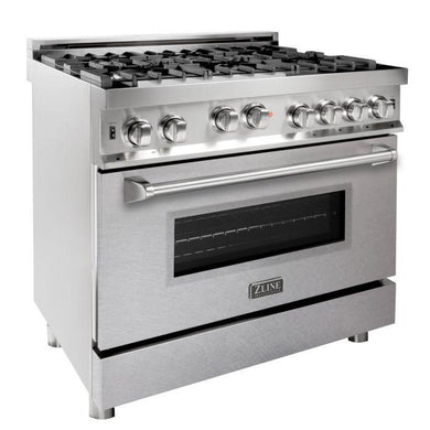 ZLINE 36 in. Professional 6 Gas on Gas Range in Stainless Steel with DuraSnow® Finish Door, RG-SN-36