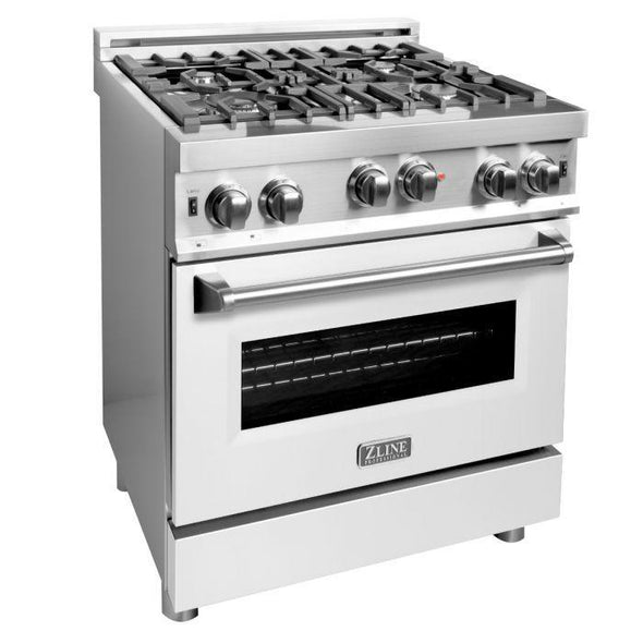 ZLINE 30 in. Professional 4.0 cu. ft. 4 Gas on Gas Range  with White Matte Door, RG-WM-30