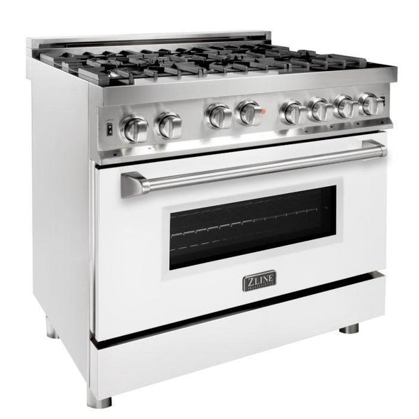 ZLINE 36 in. Professional Gas on Gas Range in Stainless Steel with White Matte Door, RG-WM-36