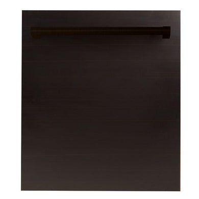 "ZLINE 24"" Top Control Dishwasher Oil-Rubbed Bronze with Stainless Steel Tub and Traditional Style Handle, DW-ORB-H-24"
