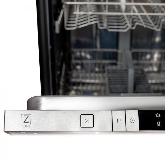 "ZLINE 24"" Top Control Dishwasher in Black Matte with Stainless Steel Tub, DW-BLM-24"