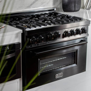 ZLINE 36 in. Professional 4.6 cu. ft. 6 Gas on Gas Range in Black Stainless Steel, RGB-36 test
