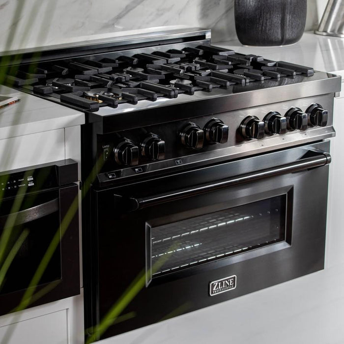 ZLINE 36 in. Professional 4.6 cu. ft. 6 Gas on Gas Range in Black Stainless Steel, RGB-36