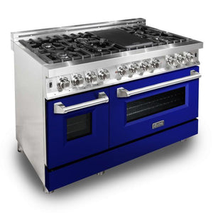 "ZLINE 48"" Professional Gas Burner/Electric Oven Stainless Steel 6.0 cu.ft. 7 Range - Blue Gloss Door, RA-BG-48"