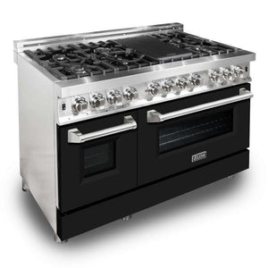 "ZLINE 48"" Stainless Steel 6.0 cu.ft. 7 Gas Burner/Electric Oven Range - Black Matte, RA-BLM-48"