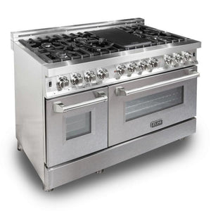 "ZLINE 48"" Professional Gas Burner/Electric Oven Stainless Steel 6.0 cu.ft. 7 Range - DuraSnow® Finish Door, RA-SN-48"