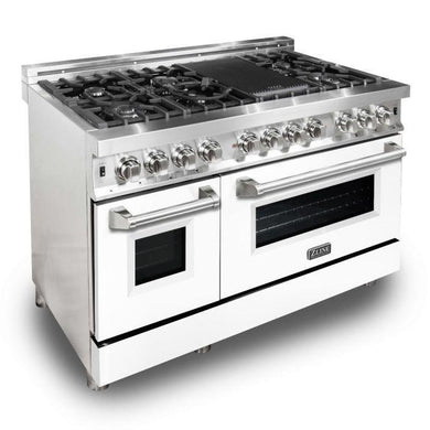 "ZLINE 48"" Stainless Steel 6.0 cu.ft. 7 Gas Burner/Electric Oven Range - White Matte Door, RA-WM-48"