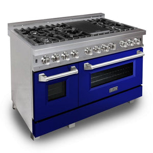 "ZLINE 48"" Professional Gas Burner/Electric Oven DuraSnow® Stainless 6.0 cu.ft. 7 Range with Blue Gloss Door, RAS-BG-48"