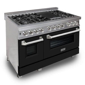 "ZLINE 48"" Professional Gas Burner/Electric Oven DuraSnow® Stainless 6.0 cu.ft. 7 Range with Black Matte Door, RAS-BLM-48"