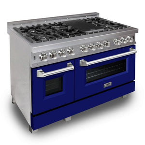 "ZLINE 48"" Professional Gas Burner/Electric Oven DuraSnow® Stainless 6.0 cu.ft. 7 Range with Blue Matte Door, RAS-BM-48"