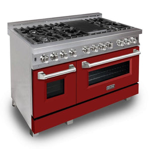 "ZLINE 48"" Professional Gas Burner/Electric Oven DuraSnow® Stainless 6.0 cu.ft. 7 Range with Red Matte Door, RAS-RM-48"