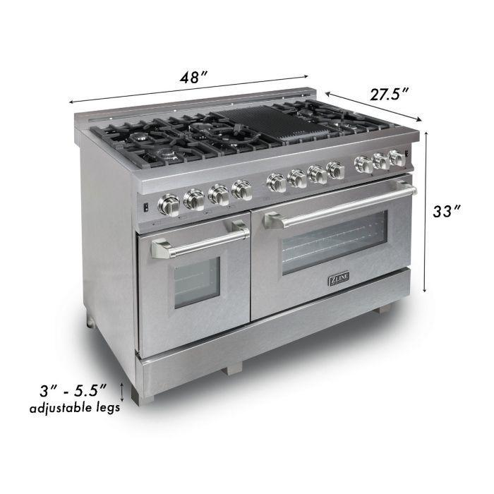ZLINE 48 in. Professional Dual Fuel Range in Snow Stainless with Blue Gloss Door, RAS-BG-48