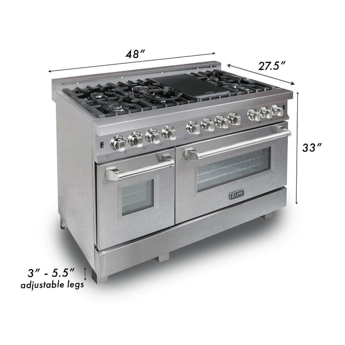 ZLINE 48 in. Professional Dual Fuel Range in Snow Stainless with Red Matte Door, RAS-RM-48