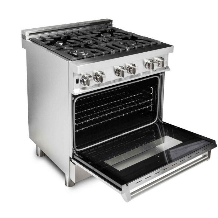 "ZLINE 30"" Stainless Steel 4.0 cu.ft. 4 Gas Burner/Electric Oven Range, RA30"